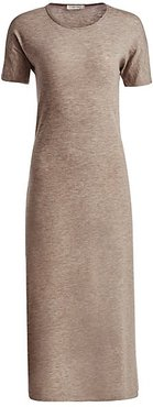 Padma Stretch Cashmere Marled Midi Dress - Taupe - Size Large
