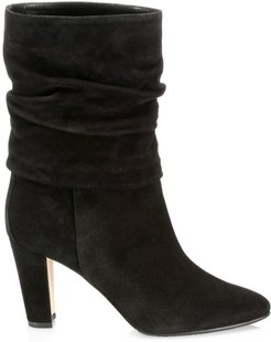 Ruched Mid-Calf Suede Boots - Black - Size 9.5