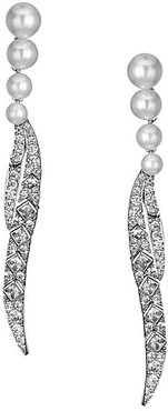 Faux Pearl & Sparkling Palm Frond Drop Earrings - Silver