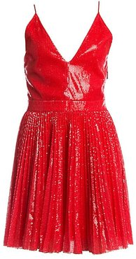 Pleated Sequin Flare Dress - Red - Size 40 (6)