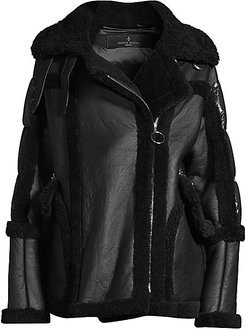 Montaigne Shearling Puffer Coat - Black - Size Small