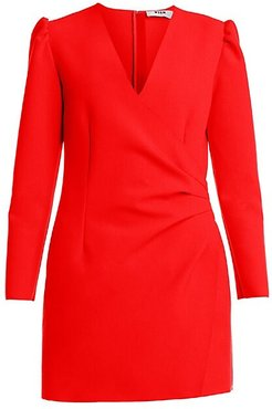 Long-Sleeve Side-Ruched Crepe Mini Dress - Red - Size 42 (8)