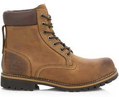 Rugged Waterproof Leather Combat Boots - Brown - Size 8 M