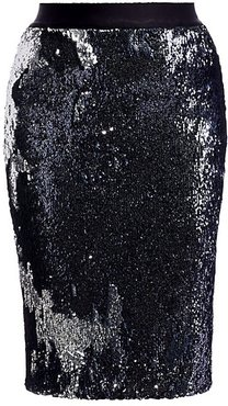 Sequined Pencil Skirt - Navy Blue - Size XL