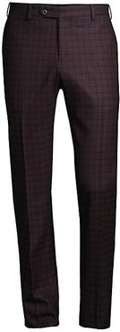 Check Wool Suit Trousers - Burgundy - Size 50 (34)
