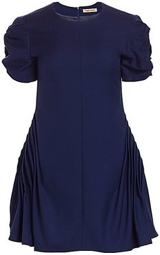 Prove Them Wrong Puff-Sleeve Mini Wool Shift Dress - Midnight - Size 6 UK (2 US)