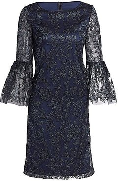 Lace Bell-Sleeve Shift Dress - Midnight - Size 10