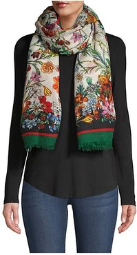 Eucled Floral Cashmere Scarf - Green