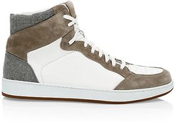 Mix Media Leather & Wool High-Top Sneakers - Sand - Size 43 (10)