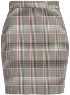 Houndstooth Mini Skirt - Black White Pink - Size 44 (10)