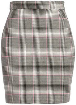Houndstooth Mini Skirt - Black White Pink - Size 42 (8)