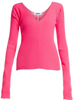 Neon Scoopneck Sweater - Pink Fluo - Size Large