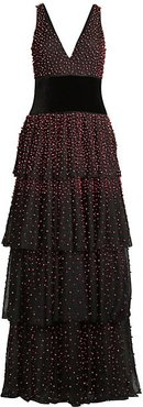 Faux Pearl-Embellished Tiered Gown - Black Red - Size 2
