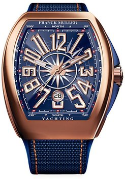 Vanguard Yachting Rose Gold, Leather & Rubber Strap Watch - Rose Gold Navy