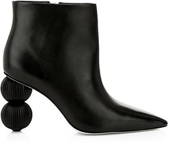 Cam Bauble-Heel Leather Ankle Boots - Black - Size 35 (5)