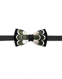Bluff Grosgrain, Goose & Pheasant Feather Bow Tie - Green