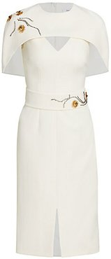 Crystal Embellished Heavy Crepe Sheath Dress - Ivory - Size 34 (0)