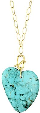 18K Yellow Goldplated Sterling Silver & Turquoise Heart Pendant Necklace