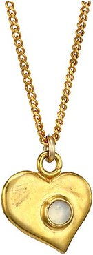 18K Goldplated Sterling Silver & Moonstone Heart Pendant Necklace - Yellow Goldtone