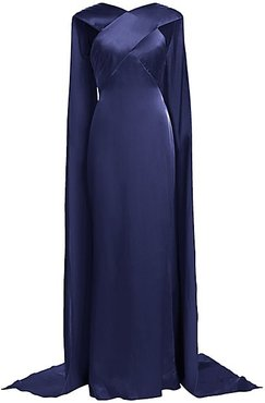 Cross Top Cape Detail Satin Crepe Gown - Navy - Size 10