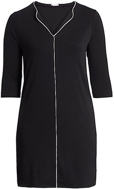Contrast Piping Shift Dress - Black - Size 1X (14-16)