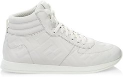 Logo Metallic Leather High-Top Sneakers - White - Size 39 (9)