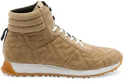 FF Logo Leather High-Top Sneakers - Nude - Size 9 UK (10 US)