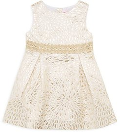 Little Girl's & Girl's Abrianna Metallic Jacquard A-Line Dress - Metallic Lace - Size 2