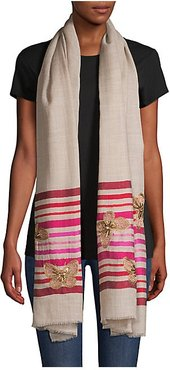 Butterflies on Stripes Wool & Silk Scarf - Natural