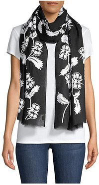 Monochromatic Flowery Embroidered Cashmere Scarf - Black White