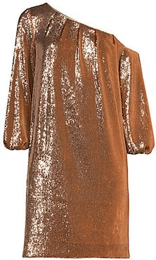 Asymmetric Off-the-Shoulder Puff-Sleeve Sequin Shift Dress - Gold - Size 2