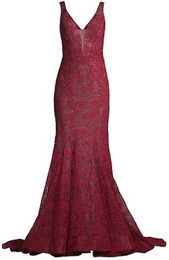Lace Mermaid Gown - Burgundy - Size 0