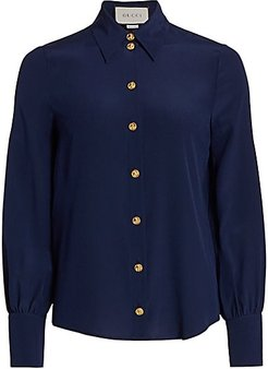 Crepe De Chine Silk Blouse - Royal Blue - Size 40 (4)