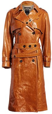 Leather Trench Coat - Tan - Size 34 (0)