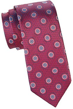 Medallion Silk Tie - Light Red