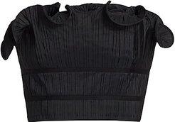 Oriel Pleated Ruffle Strapless Cropped Top - Black - Size Large