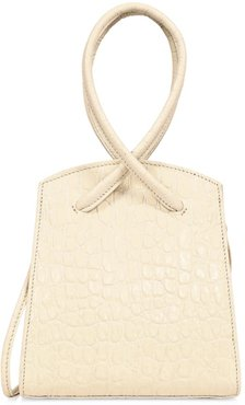 Twisted Croc-Embossed Leather Wristlet - White Crochet