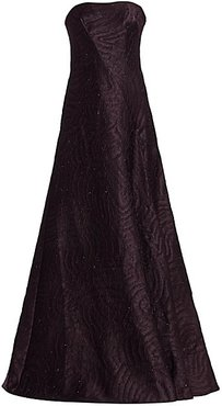 Jacquard Strapless Flare Gown - Eggplant - Size 10