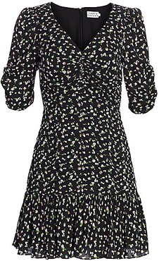 Pansy Puff-Sleeve Flounce Mini Dress - Brushed Floral - Size 12