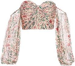 Helena Off-The-Shoulder Puff-Sleeve Silk Top - Blush Multi - Size Large