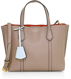Small Perry Coated Leather Tote - Grey
