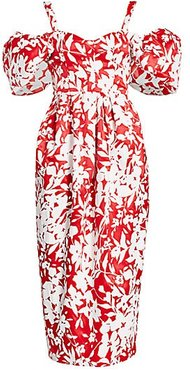Off-The-Shoulder Puff-Sleeve Floral Silk Midi Dress - Serrano Red - Size 6