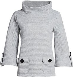 Ottoman Ribbed Funnel-Neck Pullover - Grey Heather - Size 3 (Large)