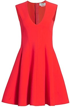 Paneled Fit-&-Flare Dress - Red - Size 44 (10)