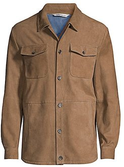 Suede Unlined Shirt Jacket - Light Brown - Size Large