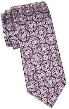 Medallion-Embroidered Silk Tie - Light Purple