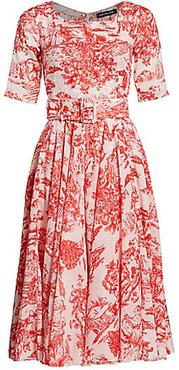Aster Belted Printed Midi Dress - White Indian Red - Size 6