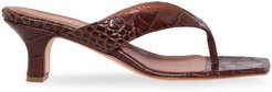 Croc-Embossed Leather Thong Sandals - Brown - Size 11