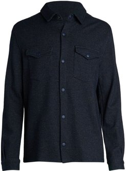 Utilitarian Wool-Blend Shirt Jacket - Navy - Size Small