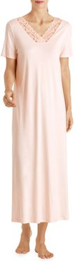 Moments Short-Sleeve Long Gown - Crystal Pink - Size Small